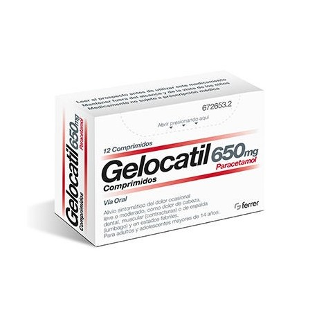 GELOCATIL 650 mg COMPRIMIDOS, 12 comprimidos