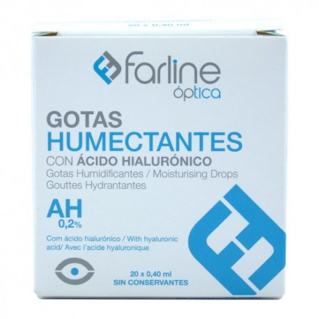 FARLINE OPTICA GOTAS HUMECTANTES AH 0.2% GOTAS O 0.4 ML MONODOSIS 20 U